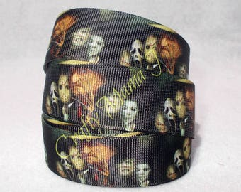 "Horror Movie Villains 1""  Grosgrain Ribbon by the yard. Choose 3/5/10 yards. Freddy Krueger, Jason, Chucky, Scream, Michael Myers, more."