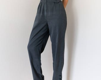 Vintage 70s 80s High Waisted Tapered Leg Trousers 26 Waist Small S