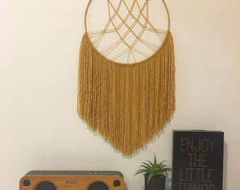 Macrame wall hanging, hoop wall hanging, modern macrame, wall decor, modern wall decor, modern dream catcher, mustard wall hanging