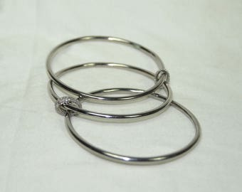 Bohemian fashion oxidized-silver stack bangles connected with pave diamond loops - SKU PJ410171