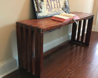 Handcrafted pine mission bench
