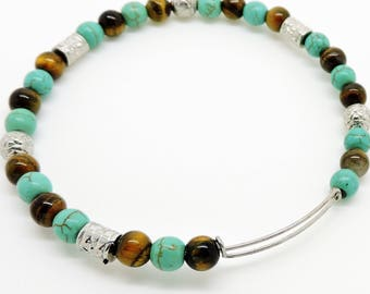Southwestern Bracelet Slide Turquoise Tiger Eye Bangle Slide BRACELET