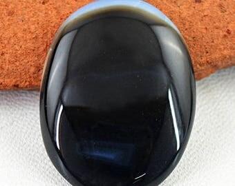 Flat 50% OFF Oval Shape Black Onyx cabochon gem