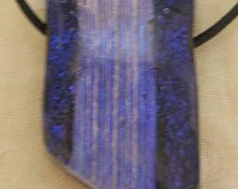 Vic's Glass Creations - Pin Stripe - handmade fused dichroic focal bead / pendant