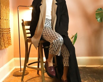 Black silky 80's duster trench coat L