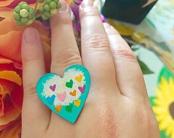 Cloud Love Heart Shaped Ring