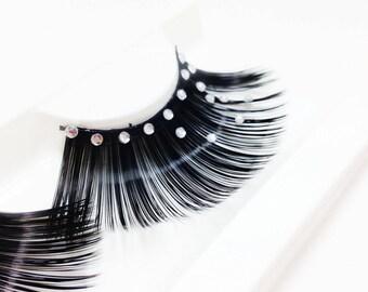 Shiny Eyelashes with diamond false eyelashes make up
