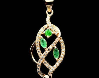 Sterling Silver 925 plated rose gold Emerald and zirconia