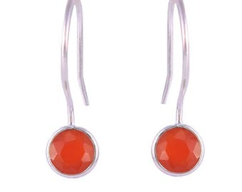 Red onyx 92.5 sterling silver earring