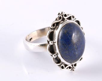 Lapis 92.5 sterling silver ring size 7 us
