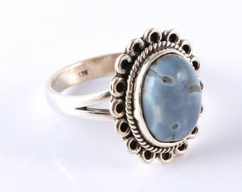 Blue opal 92.5 sterling silver ring size 8 us