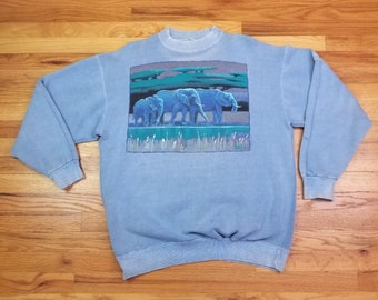 Vintage 90s 1991 African Elephant Safari Blue Sweatshirt Shirt size Large