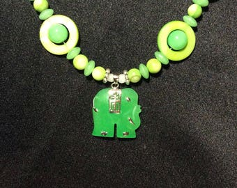 Beaded Necklace with Green Jade Elephant Pendant - .925 Silver, Peridot / White and Green Jade