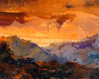 """A magnificent picture of the Ukrainian artist Pavel Guzenko """"Red sunset in the mountains"""""""