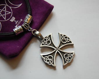 black leather choker with pewter celtic cross pendant