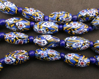 Art Deco Venetian Matched Millefiori Glass Beads Long Necklace