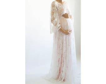 PRIMROSE  Baby Shower Dress, Lace Maternity Dress, Lace Maternity  Photoshoot Gown, Dress