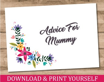 Printable, Personalised A6 Advice For Mummy Baby Shower Game. Floral Design. Digital Download.