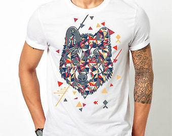 Mens Colourful Wolf Pattern Animal - White T-shirt