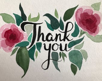 Thank You card - floral watercolor
