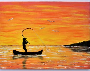 Original Folk Art Painting: Fisherman Silhouette with Sunset