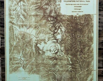 Yellowstone National Park 1871  - Historical Wood Burned Map