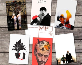 Leon the Professional set 6 postcards   natalie portman art print   jean reno illustration   movie poster     postcard set