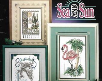"STONEY CREEK - ""Sea and Sun"" Book 114 - Cross Stitch Pattern - Pink Flamingo, Arizona, Dolphins, Toucan, Manatee, Florida, Snowbird - Used"