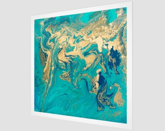 Golden Jade Fluid Painting Art Print