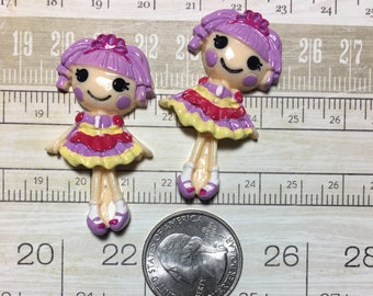 Lala Loopsy doll girl flat back resins Cabochons Lot of 2 pieces Bow Making Crafting Embellishment