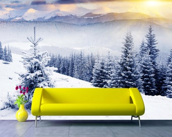 Removable Wallpaper Mural Peel & Stick Winter With Snow Trees