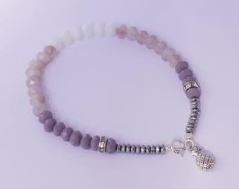 Ombre bracelet, purple white with pineapple charm bracelet, beaded bracelet
