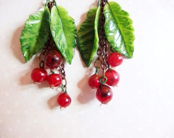 Earrings gooseberries and its leaves, red berries, cherry-red, currant, gooseberries