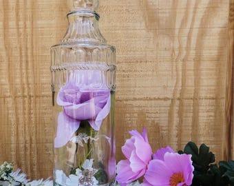 Flower decor, glass bottle, room decor, desk decor, home decor ornaments.
