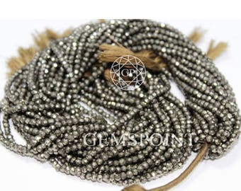 5 Strands Natural Pyrite 2mm Micro Faceted Roundels, 13 inch strand, Pyrite Small Rondelle Beads (R-PYR-0005)
