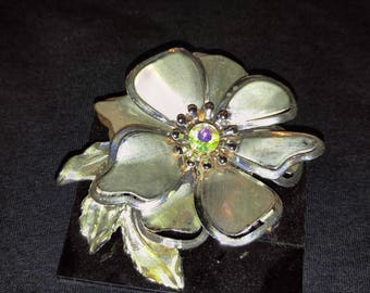 Vintage Tin and Crystal Brooch