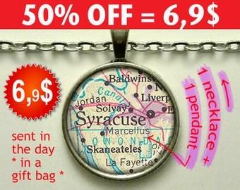 Syracuse map pendant, Syracuse map necklace, map jewelry Syracuse pendant Syracuse necklace Syracuse keychain key chain key fob N266