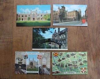 Vintage Cambridge University Postcards; Black, White & Color