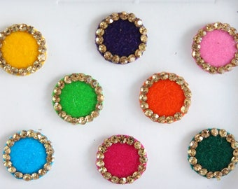 8 Colorful Wedding Round Bindis,Round Bindis,Velvet Multicolor Bindis,Colorful Face Bindis,Bollywood Bindis,Self Adhesive Stickers