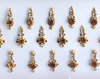 Wedding Long Bollywood Bindi Jewels,Bridal Long Bindis Stickers,Stone Bindis,Gold Bindis Jewels ,Antique Bindis,Self Adhesive Stickers