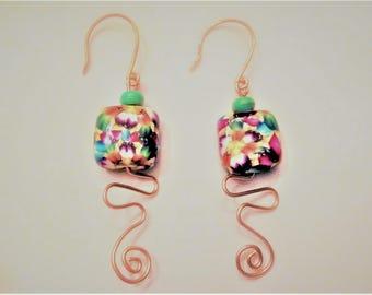 Polymer Clay Copper Wire Earrings