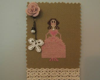 Shabby Chic Marquise embroidered magnet!