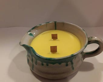Two wood wick container candle