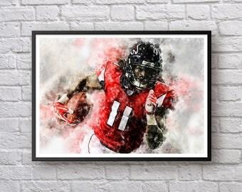 julio jones poster atlanta falcons nfl football print sports art print football home