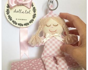 "Cute mini ""Deana""doll-keychain-sewing-wool-handmade-made in Italy"
