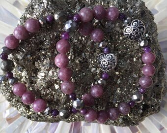 Let me be Calm ~ Lepidolite bracelet with silver filigree heart