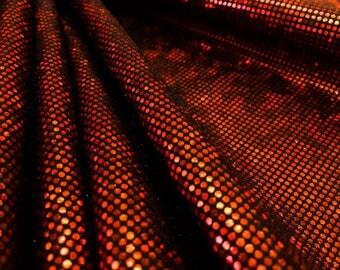 Hologram RED  4 way Stretch Nylon Lycra Spandex fabric By Yard