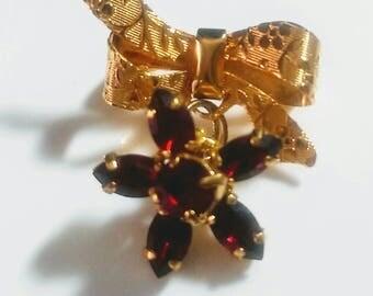 Vintage Garnet Colored Gold Bow Brooch