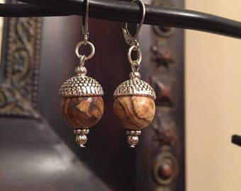 Acorn Earrings Picture Jasper in Antique Silver/Pewter with Stainless Leverbacks