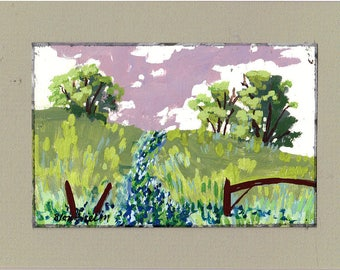 Brown Fence Pasture Agricultural Art Landscape Art Painting Trees Blue Flowers